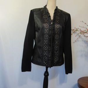 Peter Nygard Jacket Leather Black Studs Sz L